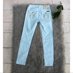 Miss Me Icy Blue Wing Pocket Skinny Jeans 28